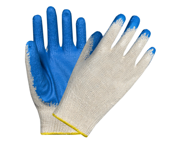 Seamless Latex Blue Coated Gloves